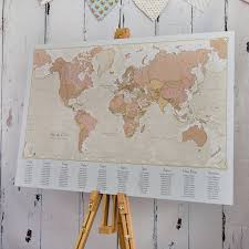 World Map Wedding Seating Chart Antique World Map Wedding Table Plan