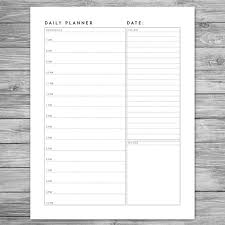 Planner Paper Template Printable Minimalist Daily Planner Daily Schedule Daily Agenda