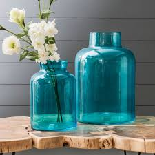 large coloured glass vases