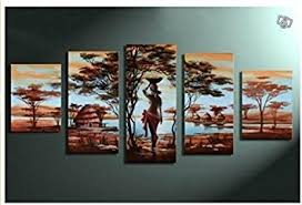unixtyle art 100 hand painted wood framed wall art african tribe house beauty home on hand painted wood wall art with amazon unixtyle art 100 hand painted wood framed wall art