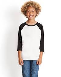Next Level 3352 Youth Cvc 3 4 Sleeve Raglan Black White M