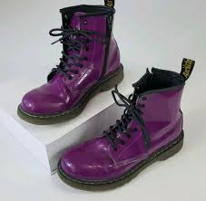 doc dr martens 8 eye purple patent leather lace up boots womens us 5