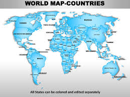 World Editable Continent Map With Countries