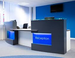 office reception area design ideas. decoration stunning reception desk for office with blue wall paint color and modern flooring marble area design ideas c