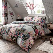 patchwork duvet cover check printed fl bedding set in stock