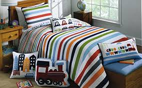 Toddler Bedding Cotton 2pc Twin Quilt Set Reversible Trucks Cars ... & Toddler Bedding Cotton 2pc Twin Quilt Set Reversible Trucks Cars Trains Bus  City Boys Bedding Quilted Adamdwight.com