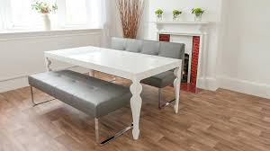 white dining bench. White Dining Bench Gray Tufted Singapore E