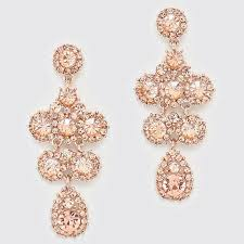 crystal chandelier bridal earrings rose gold peach champagne prom cruise formal pageant bride champagne