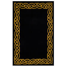 deep black area rug inspired by celtic ireland