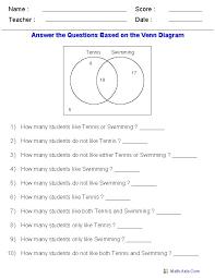 Examples Of Venn Diagram Word Problems Venn Diagram Worksheets Word Problems Using Two Sets