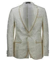 Mens Designer Suits Uk Details About Mens Cream Paisley Print Italian Designer Suit Jacket Fitted Blazer Uk 36 To 54