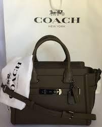 coach 55496 swagger 27 glovetanned leather dk fatigue handbag satchel purse nwt
