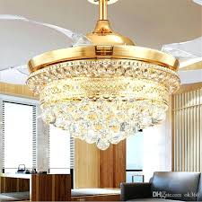 Modern Invisible Blades Ceiling Fans Crystal Retractable Belt Pendant Lamp  With Led Lights Folding Fan Dining