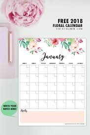 write in calendar 2018 free printable 2018 monthly calendar and planner in florals free