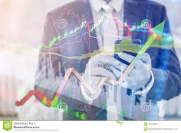 Professional Stock Chart Double Exposure Of Professional Businessman Connect Internet