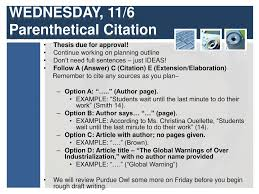 Ppt Wednesday 116 Parenthetical Citation Powerpoint Presentation