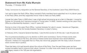 Kaila Murnain Accuses Labor Party Of Sexism As She Resigns