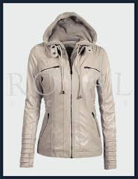 womens removeable hood moto leather jacket