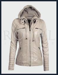 womens removeable hood moto leather jacket