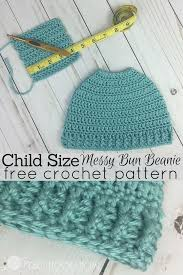 Bun Hat Crochet Pattern Extraordinary Child Size Messy Bun Beanie Crochet Pattern