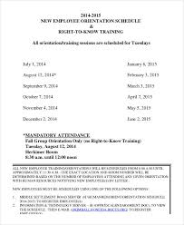 new hire training plan template. Employee Training Schedule Template 14 Free Word PDF Format