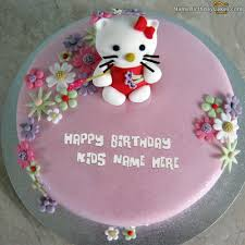 Write Name On Kitty Birthday Cake For Kids Happy Birthday Wishes