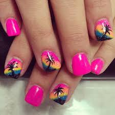 rainbow beach nails with palm trees