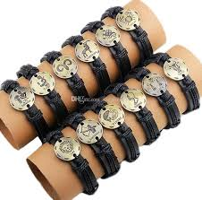whole mens women leather bracelets hand knitted bracelets zodiac gift virgo cancer scropio leo pisces arise gemini