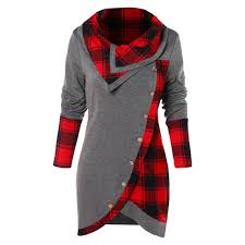 Panel Shirt Design Ladies Us 12 84 48 Off Wipalo Plus Size Women T Shirt Casual Tartan Panel Long Sleeve Asymmetrical T Shirts Ladies Tops Tees Female Autumn Pullovers In