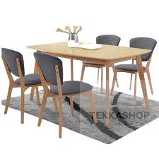 Tekkashop Lb840dt4dc 120x70cm Natural Rubber Wood Dining Table