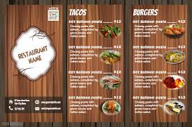 Restaurant Menu Design Templates Restaurant Menu Design Wooden Template Postermywall