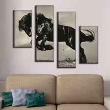 4 pcs set large canvas paintings jumping black horse canvas print artist canvas modern wall paintings in painting calligraphy from home garden on