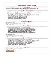 Resume For Early Childhood Educator Early Childhood Education
