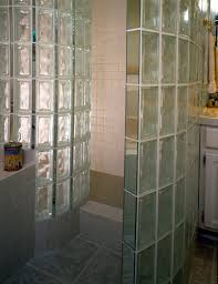 walk in door less radius glass block shower wall built with pittsburgh corning