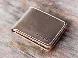 distressed leather bifold wallet