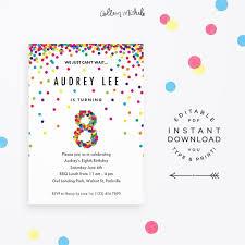 8th Birthday Party Invitations Rainbow 8th Birthday Party Invitation Instant Download Etsy