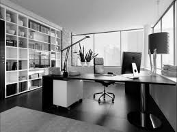 black and white office. Director Desk Design For Work Space Office Joshta Home Designs Fascinating Black Finish Stained Wooden And White R