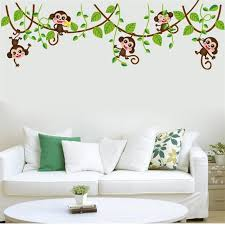 jungle monkey tree branch wall stickers for kids room home decorations animal wall art diy x lovely jungle wall art