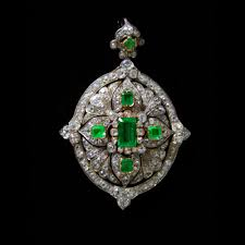 a victorian emerald and diamond pendant