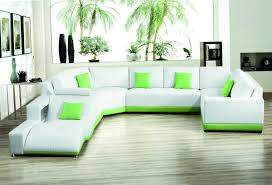 modern sofas for living room. Modern Furniture Living Room With Corner Green Leather Sofa And Art Wall Design Ideas Intended For Sofas
