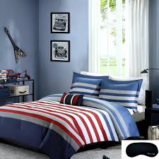 teen boys nautical rugby stripe bedding full queen comforter 2 matching shams decorative throw pillow sleep mask red blue gray white 5 pc set