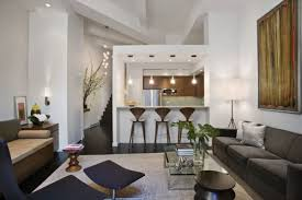 modern apartment living room ideas black. Modern In Small Apartment Living Room With Bar Kitchen Design Dark Sofa And Glass Coffee Remarkable Ideas Black A