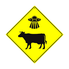 Amazoncom Caution Ufo Cow Cattle Abduction Xing Crossing Hilarious