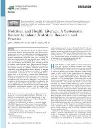 pdf nutrition and health literacy a systematic review to inform nutrition research and practice