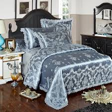 silver gold blue lace jacquard luxury bedding sets queen king size bed cover silk cotton bed sheet set duvet cover pillowcases quilt sets queen bedding