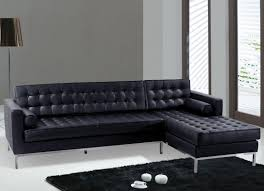 ... Large Size of Dark Leather Sectional Sofa With Chaise Lounge And Tufted  Back Rest Black Fur ...
