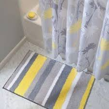 gray and yellow striped bathroom rug