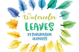 Leaf | free svg image in public domain. Free Sublimation Download Watercolor Leaves Sublimation Elements Free Design Resources