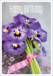 9736 Happy Birthday Purple Violas Flowers