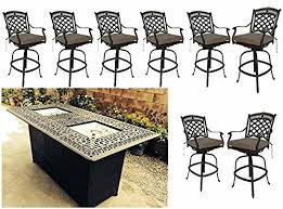 bar height propane fire pit table 9 pc